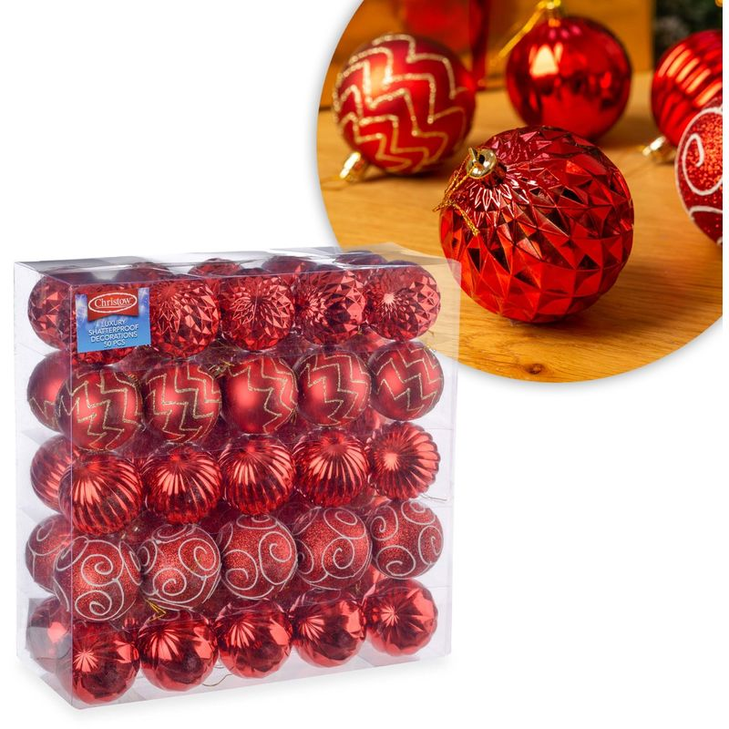 Christmas Baubles.Christow 50 Luxury Christmas Baubles