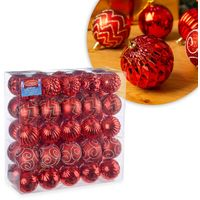 Christow 50 Luxury Christmas Baubles - Red