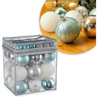 Christow 63 Luxury Christmas Baubles In PVC Bag - Blue, Silver & White