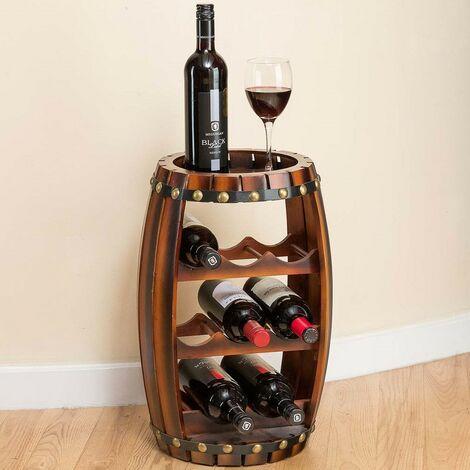 Christow 8 Bottle Wooden Barrel Wine Rack