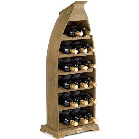 Christow Boat Shaped 17 Bottle Wooden Wine Rack