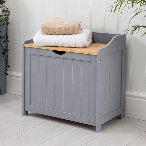 Christow Grey & Bamboo Bathroom Laundry Box