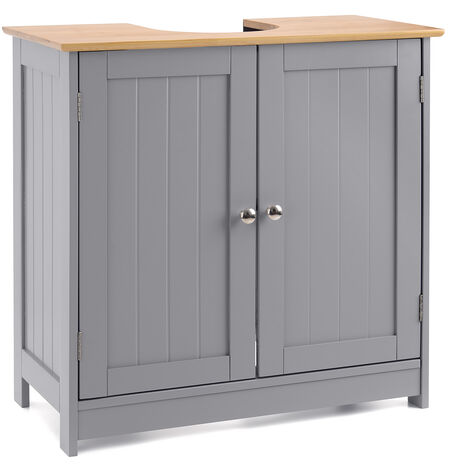 Christow Grey & Bamboo Bathroom Sink Cabinet