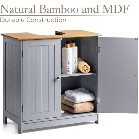 Christow Grey & Bamboo Bathroom Sink Cabinet