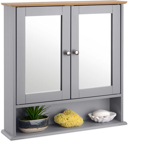 Christow Grey & Bamboo Mirrored Bathroom Wall Cabinet