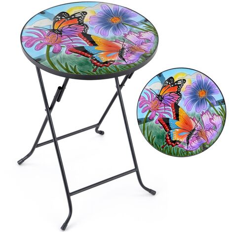 Christow Hand-Painted Glass Garden Tables