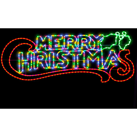 Christow Merry Christmas LED Rope Light Silhouette