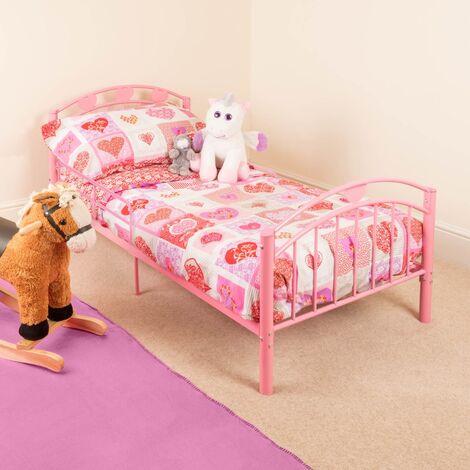 Christow Pink Metal Toddler Bed Frame