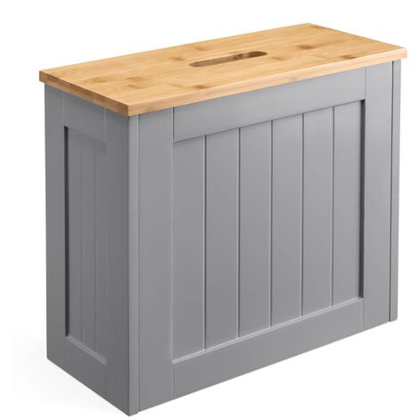 Christow Small Grey & Bamboo Bathroom Storage Unit