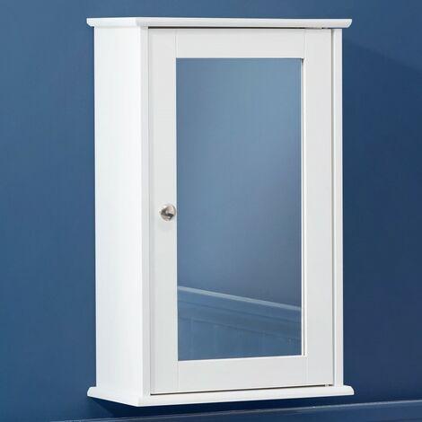 Christow Small White Bathroom Mirror Cabinet