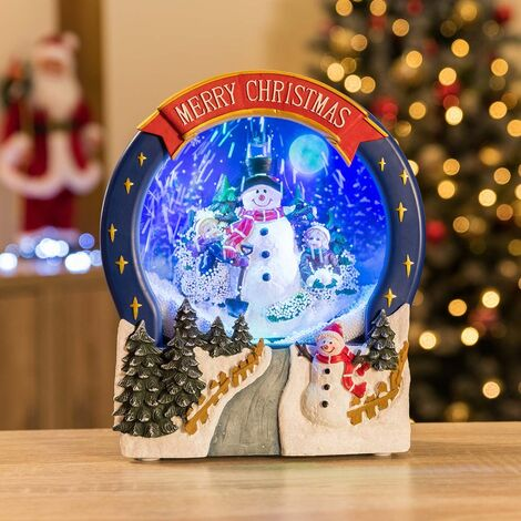 Christow Snowman Scene Musical LED Christmas Snow Globe