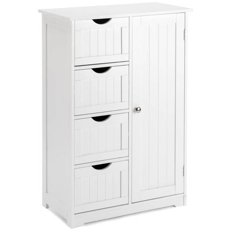 Christow White 4 Drawer Bathroom Cabinet