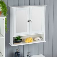 Christow White Mirrored Bathroom Wall Cabinet