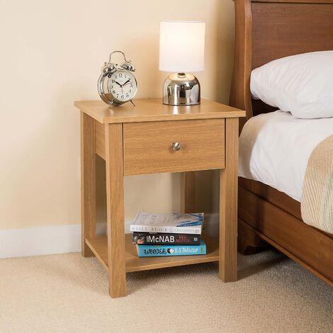 Christow Wooden 1 Drawer Nightstand (Oak)