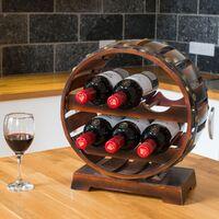 Christow Wooden Barrel 6 Bottle Wine Rack