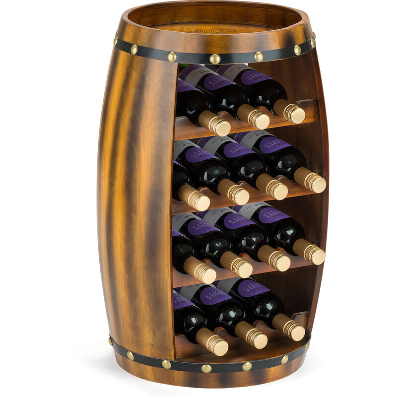 Image of 14 Bottle Wooden Barrel Wine Rack - CHRISTOW