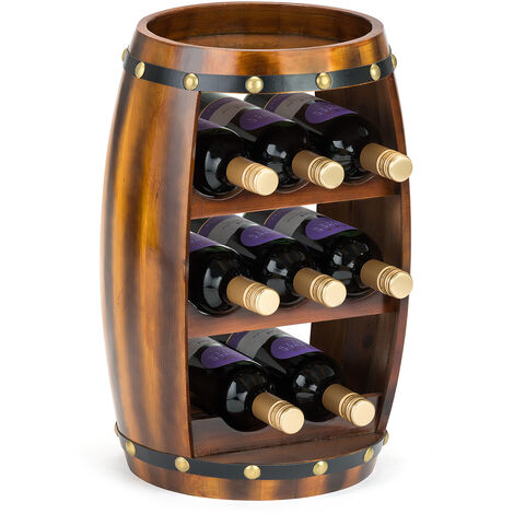 Christow Wooden Barrel 8 Bottle Wine Rack