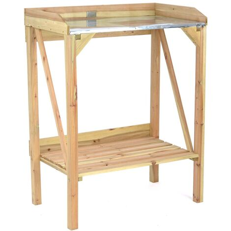 Christow Wooden Potting Table With Metal Top