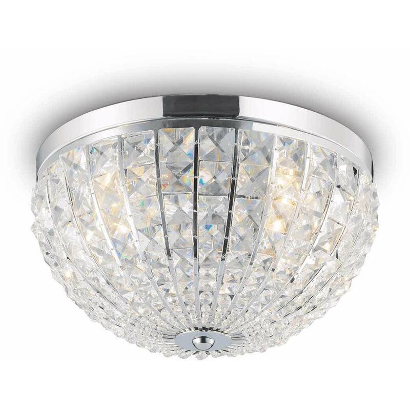 01-ideal Lux - Chrom Deckenleuchte CALYPSO Kristall 4 Glühbirnen