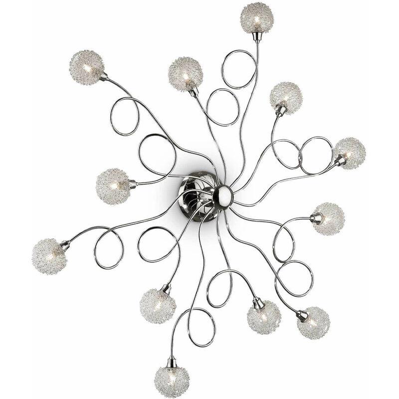 01-ideal Lux - Chrom Deckenleuchte PON PON 12 Lampen