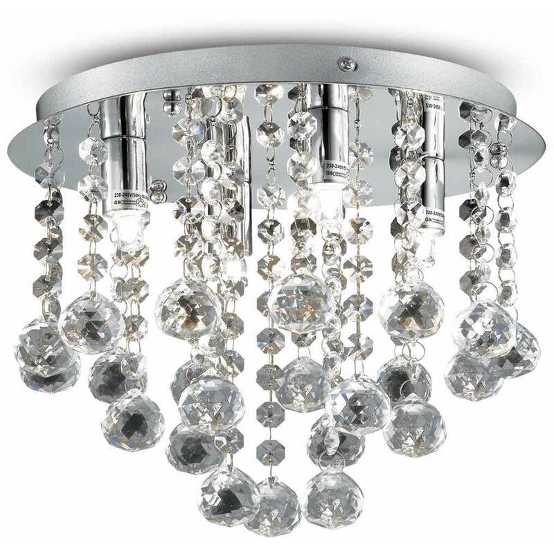 01-ideal Lux - Chrom Kristall Deckenleuchte BIJOUX 4 Lampen
