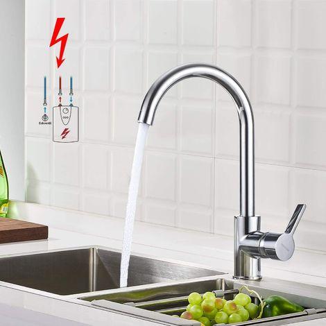 Chrom Niederdruckarmatur Küche, BONADE 360° Drehbarer Niederdruck Wasserhahn Küche Spültischarmatur aus Messing, Glänzend Einhebel Küchenarmatur Mischbatterie für Küchenspüle Spülbecken