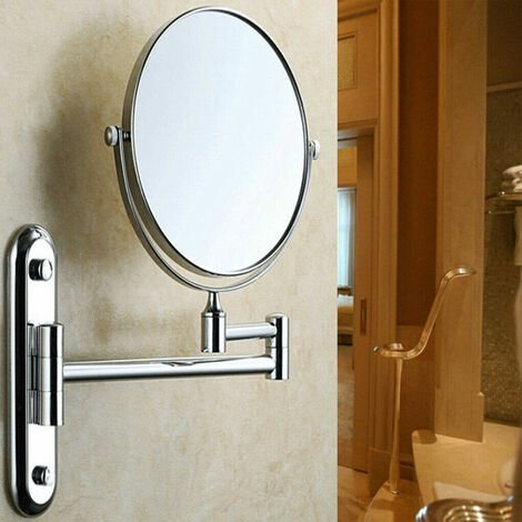 Chrome 10X Magnifying Wall Mounted Round Mirror Vanity Make Up Shaving Bathroom