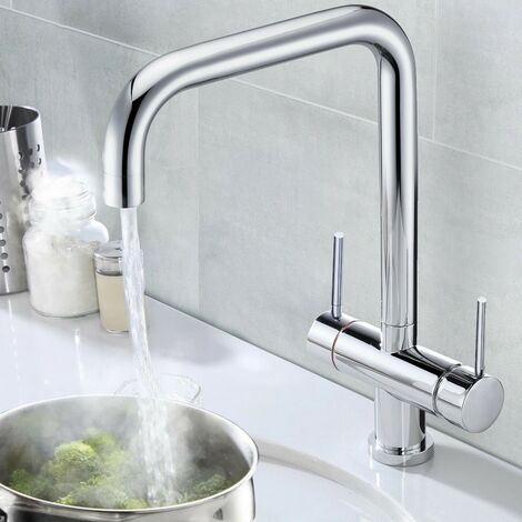 """main image of """"Chrome 3 in 1 Instant Boiling Hot Water Twin Lever Kitchen Tap Only Cool Touch"""""""