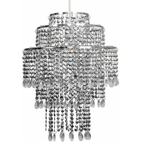Chrome 3 Tier Chandelier Ceiling Pendant Light Shade with Clear Acrylic Jewel Droplets