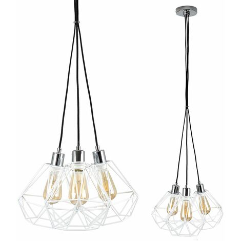 Chrome 3 Way Droplet Ceiling Light + 4W LED Filament Amber Light Bulbs - Warm White - Silver - Silver