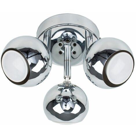 Chrome 3 Way Round Plate Adjustable Eyeball Ceiling Spotlight 5W GU10 LED Bulbs - Cool White