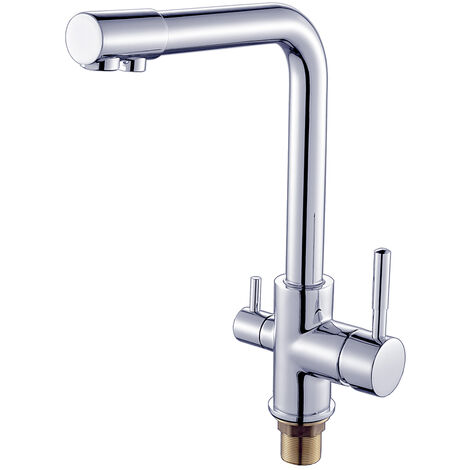 Chrome 3 Way Water Filter Tap Kitchen Drinking Taps Sink Mixer Brass Swivel Spout with 2 Handles