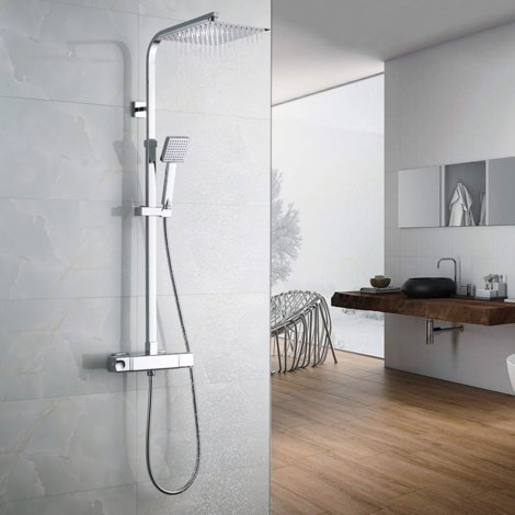 "Chrome 38ºC Thermostat Shower System, Square Thermostatic Shower Mixer, with 9.7"" Shower Head and 3.3"" Hand Held Shower, Rod Extendable 32-47"""