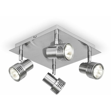 Chrome 4 Way GU10 Square Ceiling Spotlight High Power Frosted Lens Bulbs