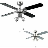 "Chrome 42"" 107cm Ceiling Fan + Spot Lights & Black & Silver Reversible Blades"