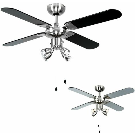 "Chrome 42"" Ceiling Fan + Spot Lights & Blackilver Reversible Blades 3W LED Gu10 Light Bulbs - Warm White"
