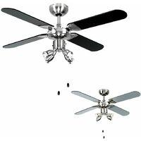 "Chrome 42"" Ceiling Fan + Spot Lights & Blackilver Reversible Blades Complete 3w LED GU10 Light Bulbs - 6500K Cool White"