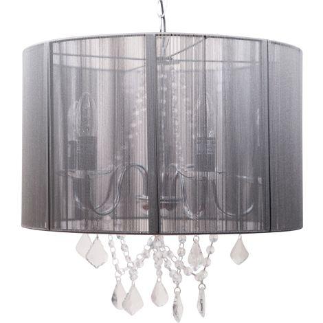 Chrome 5 Light Acrylic Crystal Ceiling Chandelier Black or Grey String Shade