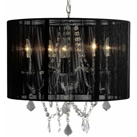 Chrome 5 Light Acrylic Crystal Ceiling Chandelier Black or Grey String Shade