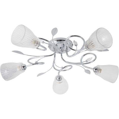 Chrome 5 Light Ceiling Fitting with Clear Ribbed Glass Shades
