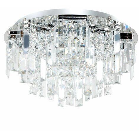 Chrome 5 Way Lead Crystal Jewel Diamond Droplet Flush Ceiling Chandelier + 3w G9 LED Light Bulbs - Warm White