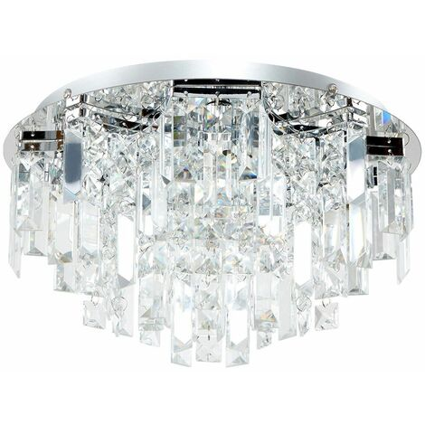Chrome 5 Way Lead Crystal Jewel Diamond Droplet Flush Ceiling Chandelier Fitting