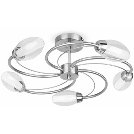 """main image of """"Chrome 5 Way Semi Flush Spiral Ceiling Light Glass Lamp Shades - Silver"""""""