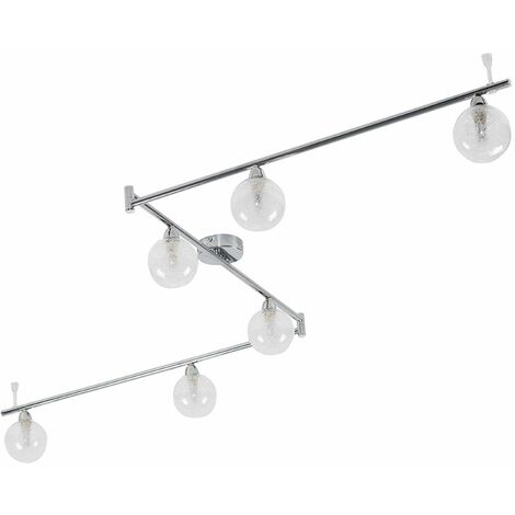 Chrome 6 Way Adjustable Ceiling Spotlight With Globe Shades 3W LED Bulbs Warm White