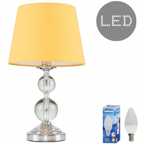 Chrome & Acrylic Ball Touch Dimmer Table Lamp + Mustard Light Shade 5W LED Candle Bulb - Warm White