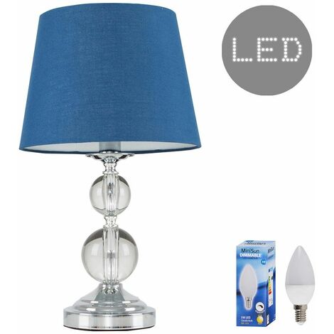 Chrome & Acrylic Ball Touch Dimmer Table Lamp + Navy Blue Light Shade 5W LED Candle Bulb - Warm White - Silver