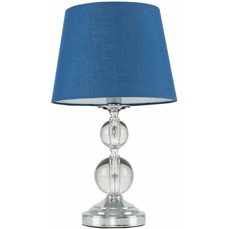 Chrome & Acrylic Ball Touch Dimmer Table Lamp + Navy Blue Light Shade - Silver