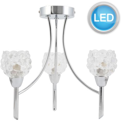 Chrome Acrylic or Glass Shade 3 Arm Ceiling Light Chandelier LED Bulb