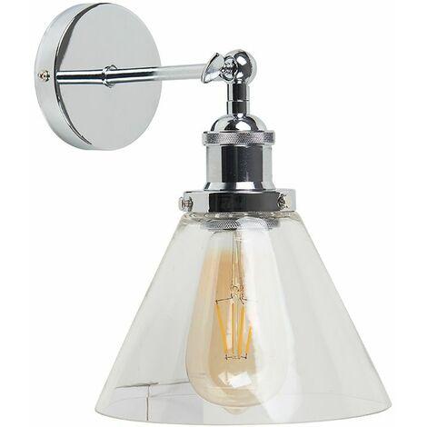 "main image of ""Chrome Adjustable Wall Light + Clear Glass Shade - Add LED Bulb"""