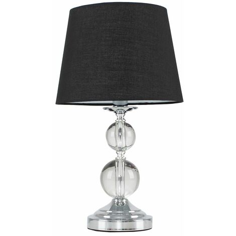 Chrome and Acrylic Ball Touch Dimmer Table Lamp With Light Shade - Beige